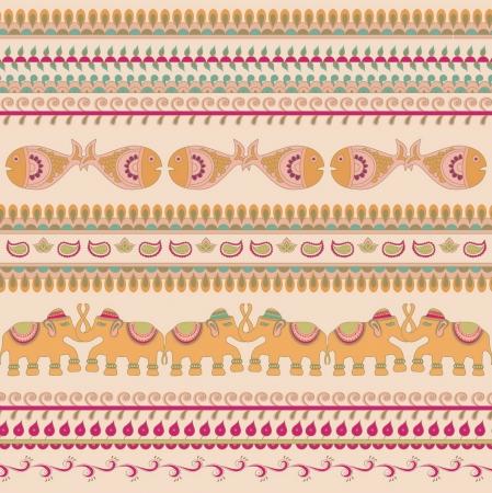 インド: 伝統的なパターンはインド象  イラスト・ベクター素材