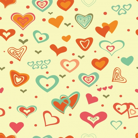Retro valentine seamless pattern with hearts Vector
