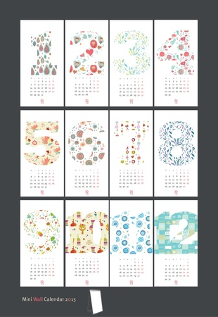 2013 Calendar set with vertical banners or cards Stock Vector - 18311648