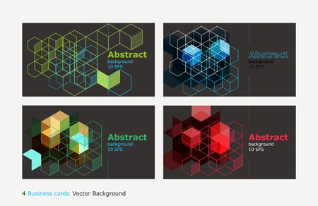 4 business cards colored backgrounds Illustration