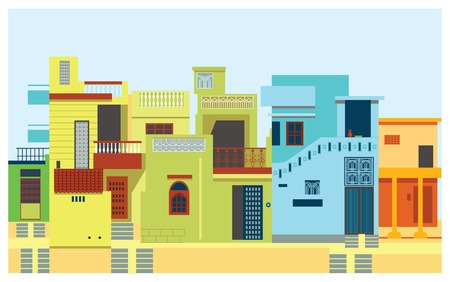 abstract city: Houses in city set