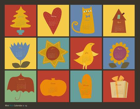 scrapbooking  color characters calendar Vector