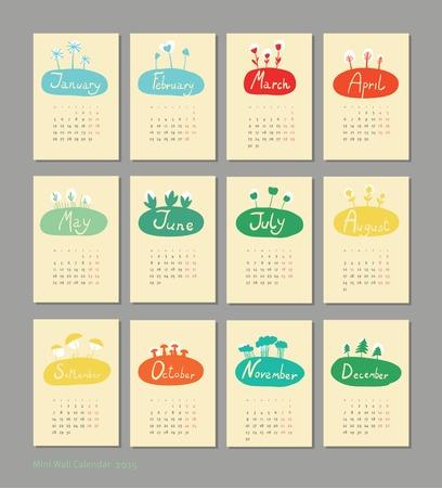 Mini cute calendar 2015 seasons  Vector