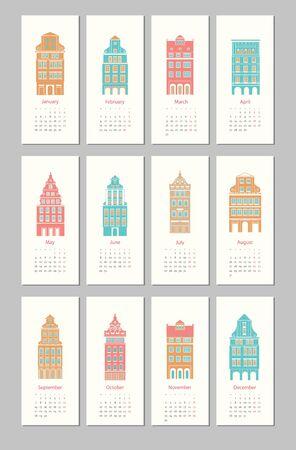 calendar design Europe house 2015 Illustration