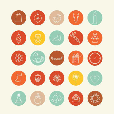 vector decorated christmas icons design elements set