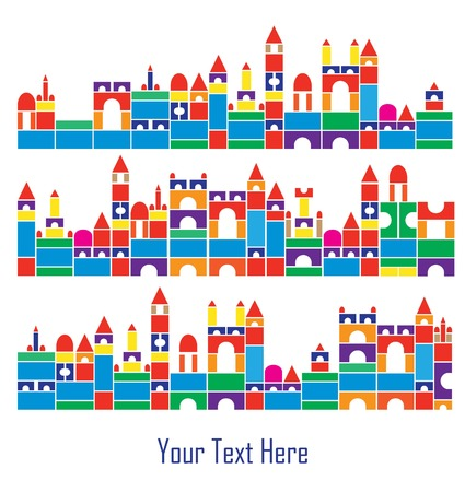 construction children color blocks house building set Vector