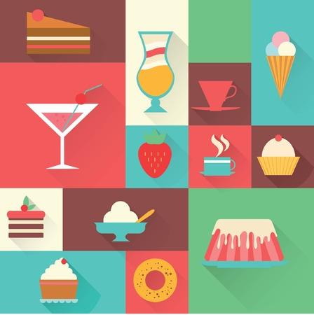 birthday sweet dessert element for design set Vector