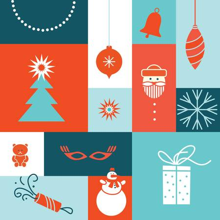 gift pattern: merry christmas tree icon  set color post card