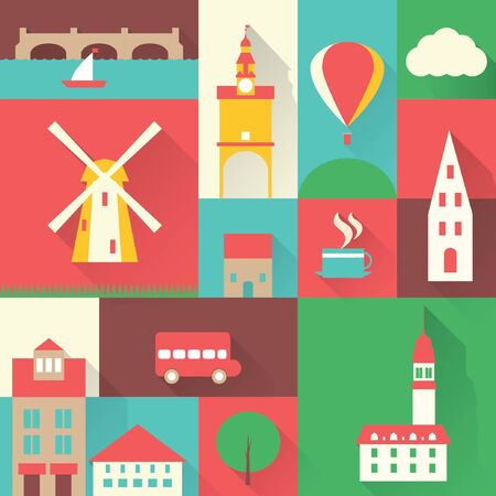 Viajes Europa icono de la ciudad elementos de diseño Ilustración de vector