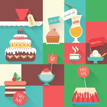 birthday sweet dessert element for design set Illustration