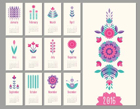 holiday symbol: floral mini geometric, flat calendar  holiday symbol