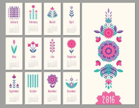 floral mini geometric, flat calendar  holiday symbol