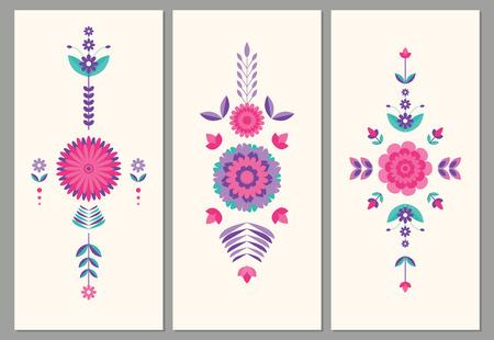 pink vintage: geometric, flat floral  colorful card background Illustration