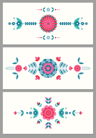 geometric, flat floral  colorful card background Illustration