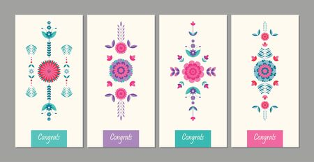 geometric, flat floral  colorful card background design
