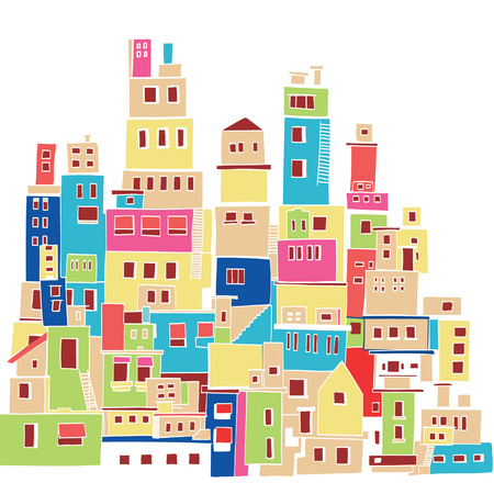 beautiful homes: Color Hindu urban architectural style Illustration