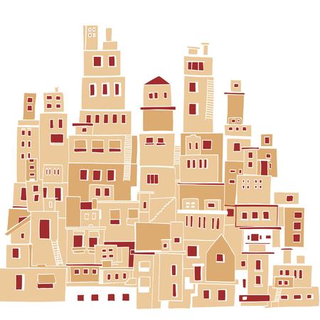 Mediterranean town, sunny village, Indian slums Illustration