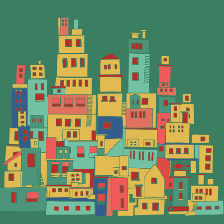 Sunny Mediterranean town, village in summer time Illustration