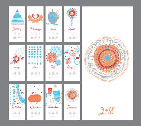 Hand draw mini calendar 2018 Illustration