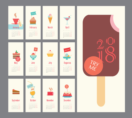 Calendar 2018, ice cream set, flat design, dessert icons