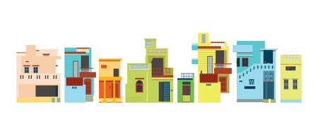 Indian urban architectural style color building panorama set Illustration