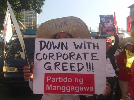 corporate greed: Protesters during Bonifacio Day are against corporate greed