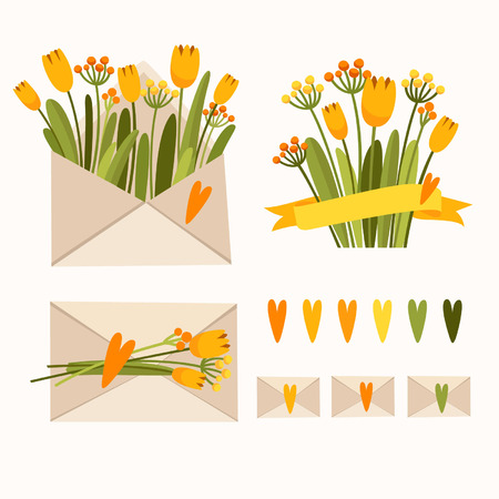 Set of envelopes with flowers  Vector