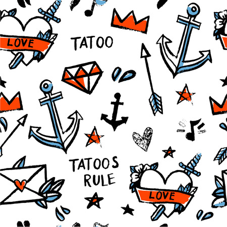 anchor drawing: Seamless pattern old school tattoo  Watercolor  Vector