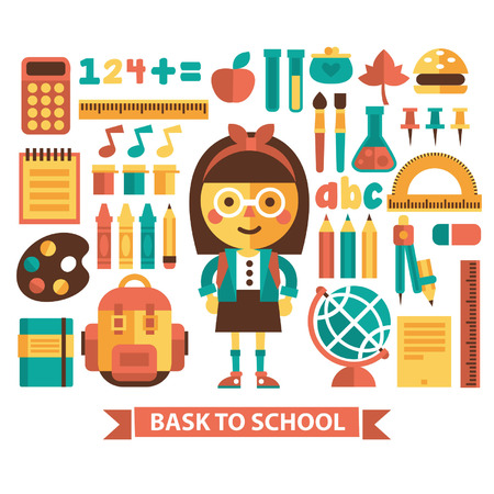 junior: Set of icons and characters on a school theme  Flat design  Illustration
