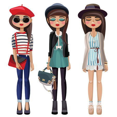 tights: Three stylish young girls