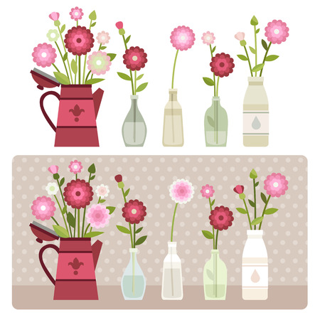 Set of bottles with flowers Vector