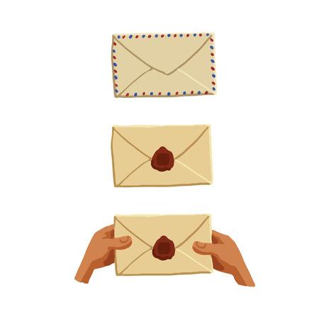 assemblage: Set of postal envelopes