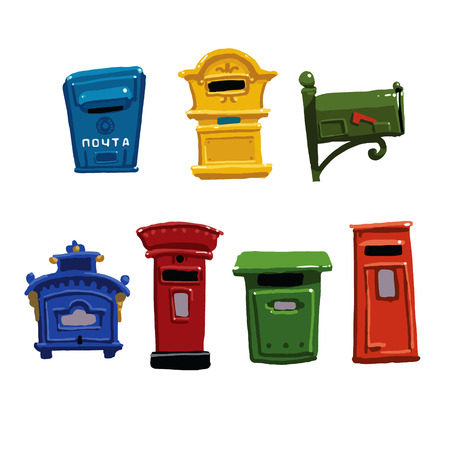 typically: Set of vintage mailboxes from around the world