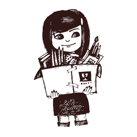 six year old: Illustration girl with books  Sketch