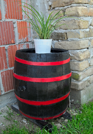 storage: Old restaruated wooden barrel with new looks