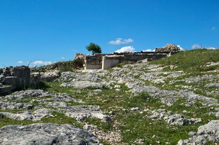 Stone remains on Bribir fortress in Dalmatia