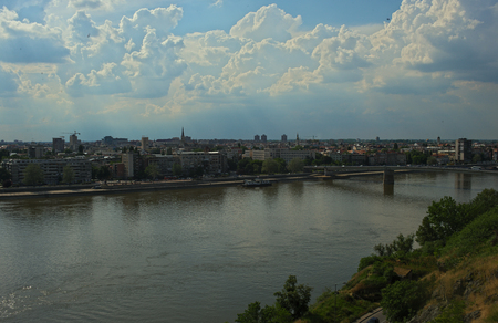 View on river Danube and city of Novi Sad, Serbia from Petrovaradin fortress