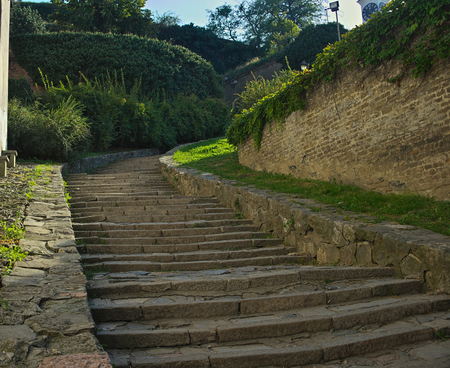 Stone stairs going up at Petrovaradin fortress, Novi Sad Imagens