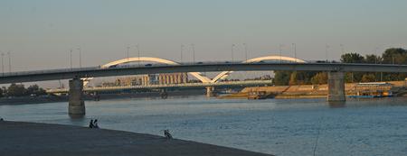 View on two bridges over Danube in Novi Sad, Serbia