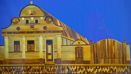 KAC, SERBIA, NOVEMBER 4th 2018 - Wheat Straw Art picture representing traditional panonia house Sajtókép