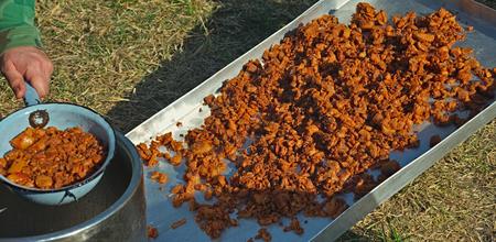 Freshly made crackling, well-browned, crisp rind of roasted pork