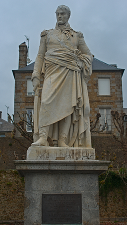 Statue of General Jean Marie Valhubert in Avranches in the Manche departement of France Imagens