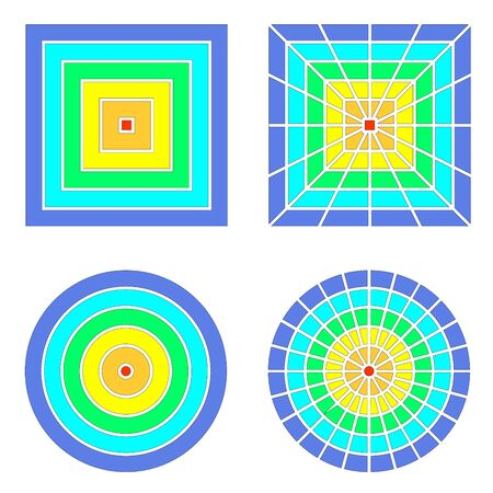 Spectral color squares and circles. Geometric gradation of planes simple shapes.
