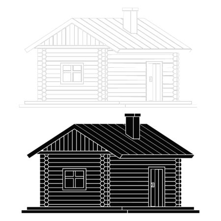 Rural house from wooden logs. Vector illustration of two facades of the house .