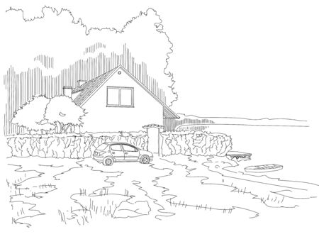 lake dweller: House out of town in the woods on the shore of the lake. Rest and relaxation for the urban dweller. Illustration