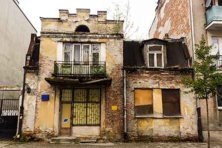 Abandoned house on the outskirts of Warsaw, Poland. Construction of the early 20th century. Stock Photo