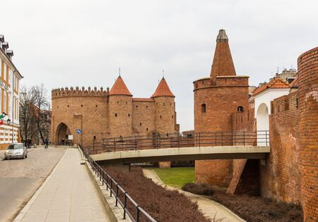 The area of the Old Town in Warsaw, Poland . Barbican fortress . Entrance to the medieval city. Editorial