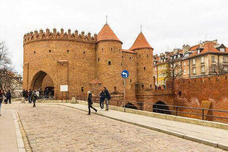 outpost: The area of the Old Town in Warsaw, Poland . Barbican fortress . Entrance to the medieval city. Editorial