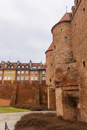 The area of the Old Town in Warsaw, Poland . Barbican fortress . Entrance to the medieval city. Stock Photo