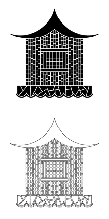 far east: Architecture of the Far East. Bamboo house in the oriental style  on a stone base near the water. Illustration